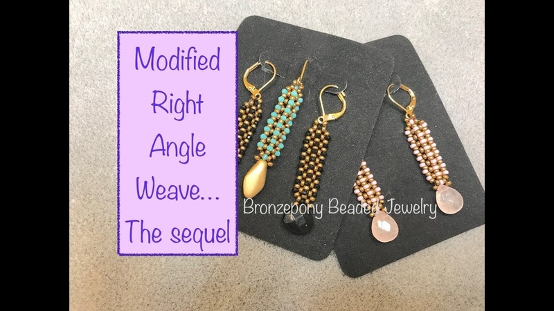 Linear Earrings Continuing Modified Right Angle Weave