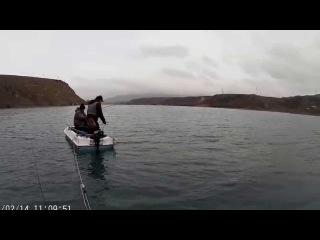 Поимка крупной русловой щуки. Вес 9 кг ! , длина 107 см!  Февраль -2015г