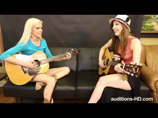 Halle Von and Taylor - Auditions-HD -  Halle Attacks # threesome ffm guitar lesson casting auditions