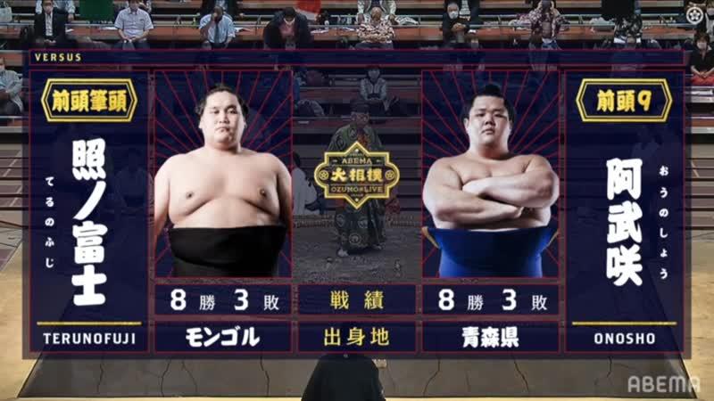 Terunofuji vs Onosho - Aki 2020, Makuuchi - Day 12