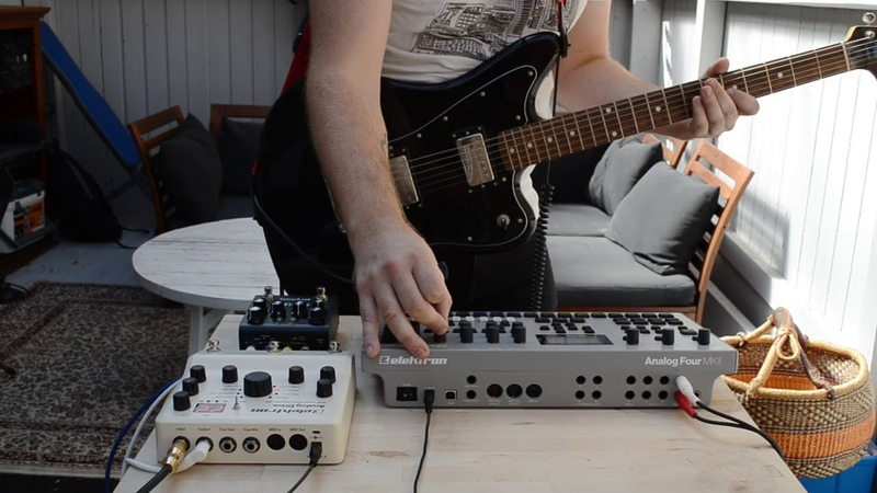 Prog AF synth guitar jam with Elektron Analog Four MkII and a drummer