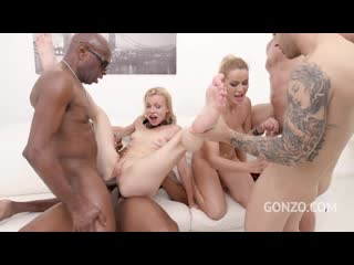 Cherry Kiss and Rebecca Sharon assfucked together in hardcore orgy with balls deep DP  Piss drinking