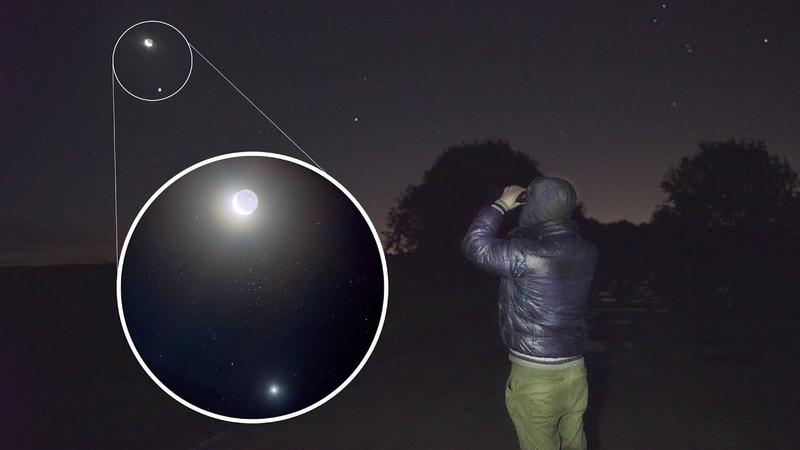 Сближение Луны Венеры и звездного скопления Ясли сквозь дождь и облака Будни звездочета 95