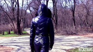 FUTURISTIC WINTER OVERALLS SNOW SUIT AND BLACK ANTIGAS. NAVY GLITTER SKI SUI AND CZECH CM-6 Gas Mask