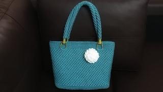 Crochet bag - Lai Thai stitch   ถักกระเป๋าเชือกร่ม ลายไทย(ลายห$