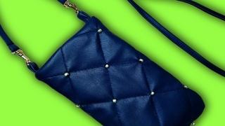 Хитрость пошива кожи.Потрясающая сумочка для телефона из экокожи DIY/case for iPhone