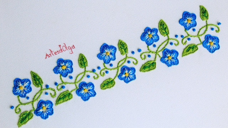 Hand Embroidery Border line Design with Buttonhole Stitch Bordado a Mano Borde con Puntada Ojal