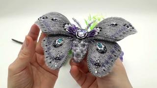 Бабочка брошь из меха.  Часть 2. Финал. Butterfly brooch fur. Part 2. The final.