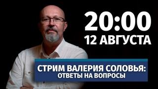 Стрим Валерия Соловья. Ответы на вопросы. 12 августа, 20:00 (по МСК)