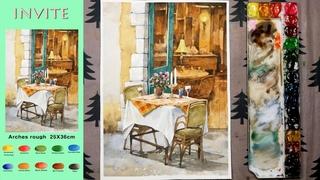 Landscape Watercolor - invite (sketch & color mixing, Arches rough) NAMIL ART