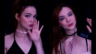 ASMR TWINS 🤤 Inaudible/Unintelligible Whispers with Mouth Sounds