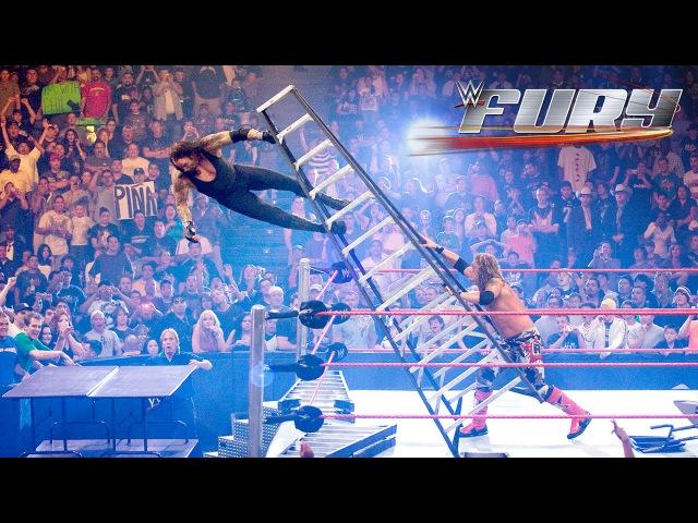15 Superstars smashing through stacked tables WWE Fury