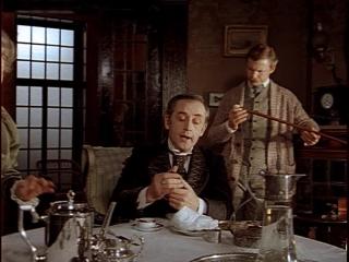 """Ш.Холмс(В.Ливанов) и доктор Ватсон(В.Соломин) метод дедукции """"Приключения Шерлока Холмса..""""  """"Собака Баскервилей"""" (1981) фрагмен"""