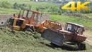 Закладка сенажа в яму - трактор ДТ-75, погрузчик Амкодор 332В, а так же Т-150К, МТЗ-80 и Камаз 55111