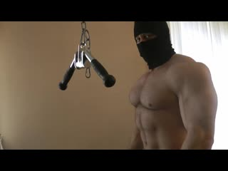 Ninja Tyler Super Muscle Hairy Ninja Flexing Bodybuilder