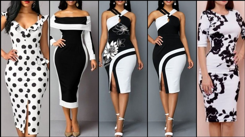 Hottest Black And White Designer Bodycon Sheath Dresses