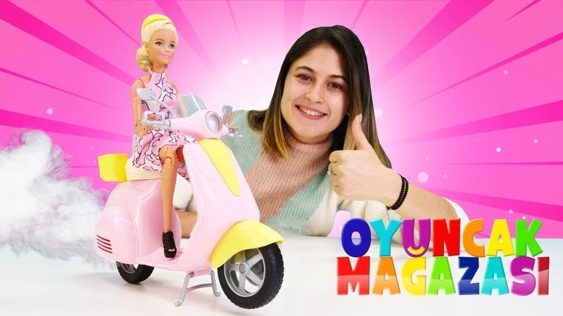 Ayşenin oyuncak mağazası. Barbie scooter alıyor! Barbie oyunu