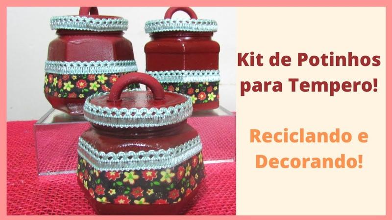 Kit de Potinhos para Tempero Reciclando e Decorando