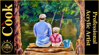 Father and Son, Fishing Memories Acrylic Painting Quarantine Quickie #49 with Ginger Cook