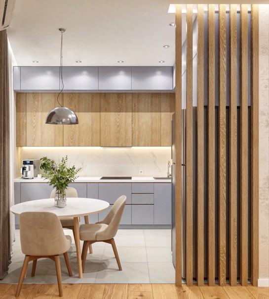 Гостиная, совмещённая с кухней.  Дизайнер Камаева Вера.