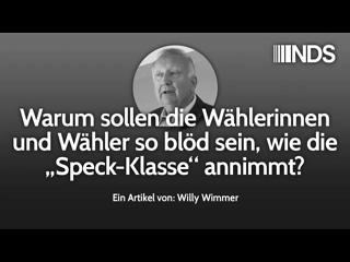 """Warum sollen die Wählerinnen und Wähler so blöd sein, wie die """"Speck-Klasse"""" annimmt    Willy Wimmer"""