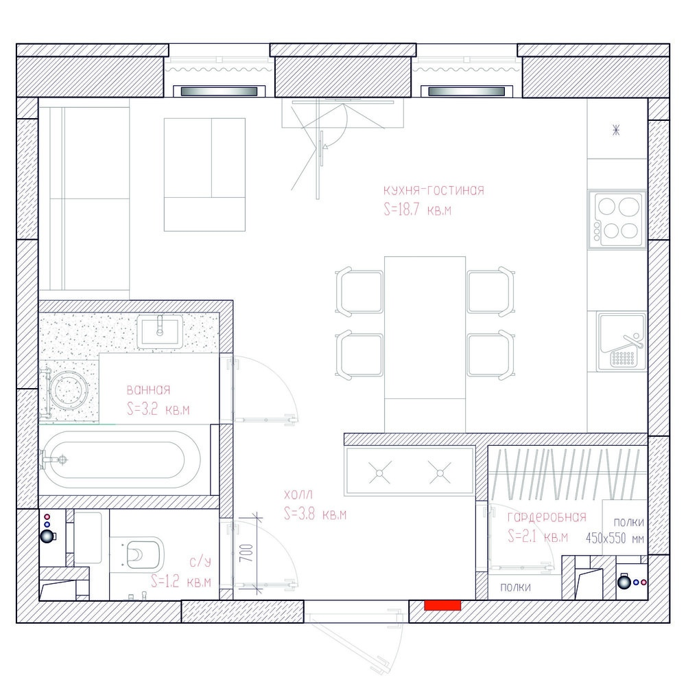 Проект небольшой квартиры 29 м.