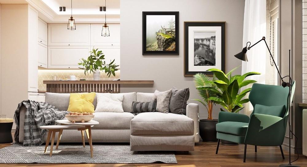 Проект квартиры-студии 30 м в эко-стиле.