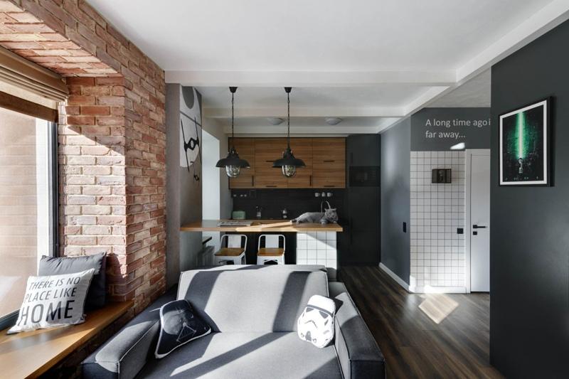 Интерьер квартиры-студии 33 м под Киевом для молодого мужчины.