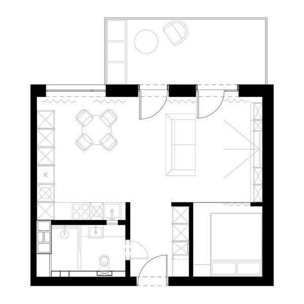 Проект квартиры открытой планировки 45 кв.