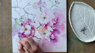 """How to Paint """"Apple Blossom"""" Flowers in Watercolor. Pink Tree"""