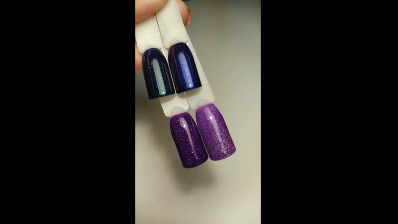 Гель лак фиолетовые и синие оттенки с блестками