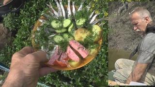 Ночевка в Ниве. Рыбалка, грибы с колбасой, царь рыба - рецепт, лучшая закуска. Птицы. Река Ворона.
