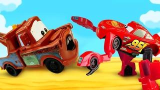 Toy cars Lightning McQueen and Robot Transformer toys - Disney Pixar Cars