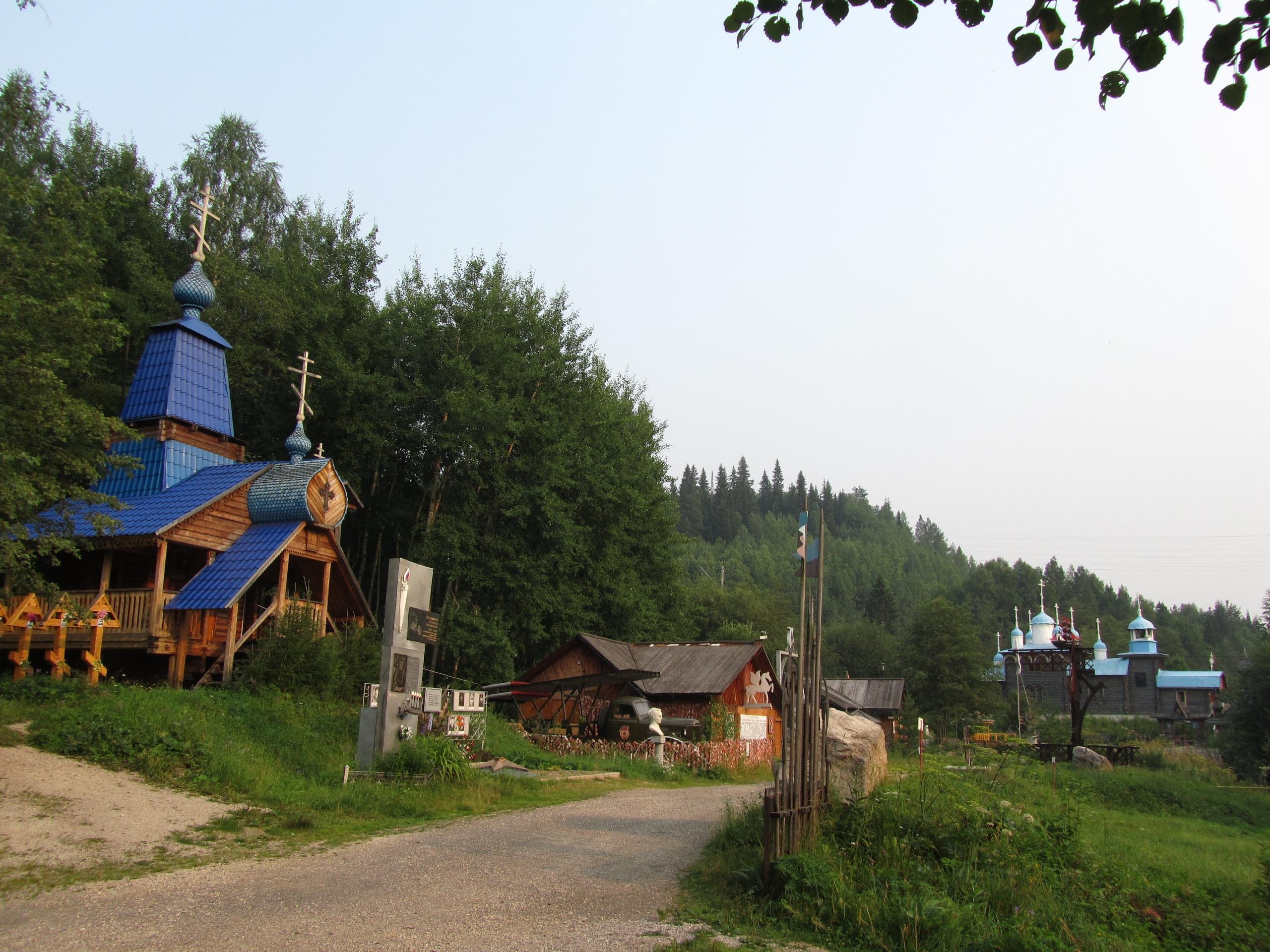традиционные уральские архитектурные элементы в парке реки Чусовой
