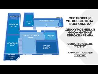"""2-х этажная квартира в ЖК """"РАЙ в ШАЛАШЕ"""" в Сестрорецке"""