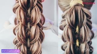 Воздушная коса с лентой. Вечерняя причёска с косой